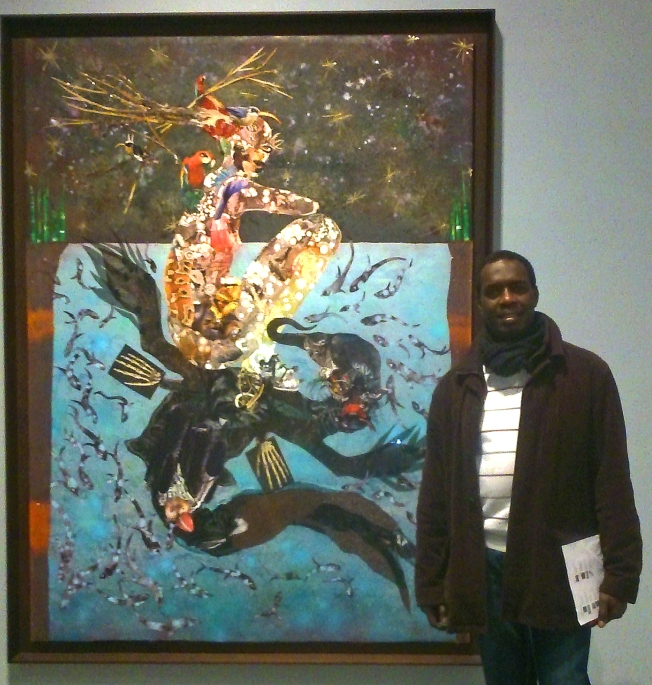 Andrew-Wamae-at-Wangechi-Mutu-Victoria-Miro-Exhibition-Dec-2014
