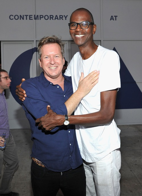 "LOS ANGELES, CA - SEPTEMBER 09: Artist/filmmaker Doug Aitken (L) and artist Mark Bradford attend MOCA's Leadership Circle And Members' Opening For ""Doug Aitken: Electric Earth"" at The Geffen Contemporary at MOCA on September 9, 2016 in Los Angeles, California. (Photo by Donato Sardella/Getty Images for MOCA)"